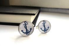 Anchor cuff links - nautical gift for men, groomsmen, wedding party, him - silver cufflinks accessories. $16.00, via Etsy.