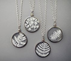 Papercut Necklaces - Original Handcut Paper in Glass Pendants with Silver Chain - Schmuck - Resin Jewelry, Jewelry Crafts, Handmade Jewelry, Cut Paper Illustration, Paper Feathers, Monogram Necklace, Initial Jewelry, Bijoux Diy, Stainless Steel Chain
