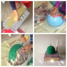 A great project to work on in the week leading up to the milad celebration. For the dome: M ake some paper mache paste by mixing. Back To School Crafts For Kids, Sunday School Projects, Projects For Kids, Diy For Kids, Ramadan Crafts, Ramadan Decorations, Eid Mubarak Gift, Eid Milad Un Nabi, Balloon Crafts