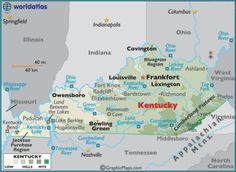 Map of Kentucky KY