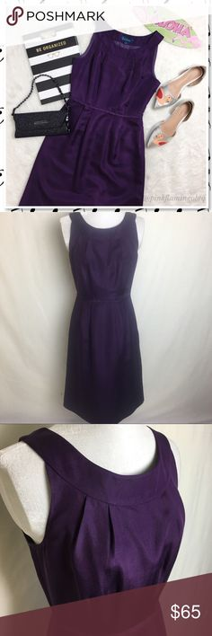"""Boden Purple Silk Blend Sleeveless Midi Dress Boden Purple Silk Blend Sleeveless Midi Shift Dress. This is a dress that every woman need in her wardrobe. Its clean, classic lines and subtle pleated create a feminine but flattering shape that is sure to turn heads. Side hidden zip closure and back slit for ease of movement when walking. Wear with a pair of classy heels and you're all set. Perfect for semi-formal events, date night or Sunday Morning. 39"""" long, 16"""" pit to pit and 13"""" around…"""