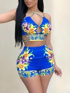 Fadvanes womens sexy two piece outfits bodycon shorts set and floral print strap crop top summer beach club wear blue l Summer Outfits Women, Short Outfits, Sexy Outfits, Cute Outfits, Fashion Outfits, Womens Fashion, Chor, Two Piece Outfit, Wholesale Clothing