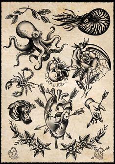 Neue Tattoos, Old Tattoos, Black Tattoos, Tattoos For Guys, Cute Tattoos For Women, Traditional Tattoo Sketches, Traditional Tattoo Old School, Tattoo Flash Sheet, Tattoo Flash Art