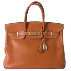 "Hermes Birkin 35cm Cognac Birkin Bag Epsom Leather Type: Shoulder Bag  Condition:  Excellent Condition  Measurements: 14"" x 9"" x 7""  Strap Drop: 4""  Color: Cognac  Material: Epsom Leather  Hardware: Gold  Description: This bag comes with lock, keys, clochette, a sleeper for the bag.   Blind stamp I, circa 2005  All measurements are approximate; variance may be .5"".   More photos available! Just ask! Ask me about our website. Hermes Bags Satchels"