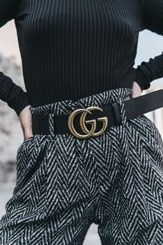 winter style and winter fashion; street style, tweed black and white trousers with gucci belt