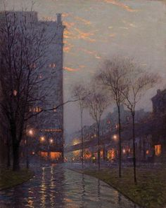 """Bryant Park at Evening, New York,"" Birge Harrison, oil on canvas, 30 x 24"", private collection."