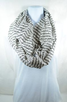 Sheet Music Infinity Scarf - 100% Cotton - Pre-washed Pre-shrunk - Handmade - Easy Care from WhimsyAbode on Etsy