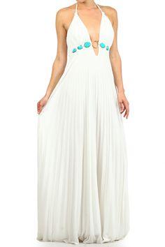 White Halter Maxi Dress With Stone Key Ring Embellishment