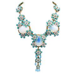 stanley hagler vintage jewelry | STANLEY HAGLER NYC 50's Glass Necklace at 1stdibs