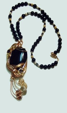 Single-Strand Necklace with Wirework and Black Onyx Gemstone Beads - Fire Mountain Gems and Beads