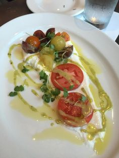 Heirloom Tomatos with whipped Burrata and Basil Vinaigrette