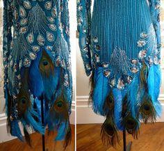 Burlesque Costume Silk Dress Peacock Ostrich Feather Sequin Beads