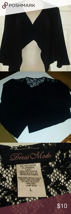 """Solid & lace shrug Cute shrug with lace back and solid in front  Pit to pit flat 20 1/4"""" inches  Front length  20 1/2"""", back 14 1/2"""" Sleeves 17 1/2 inches  Will go great with jeans or a dress Dress Made Tops"""