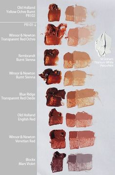 PR101 and PR102 (Pigment Red 101 and 102) are among my favorite pigments for paint and they come in a large variety of colors. PR102 is a natural red iron oxide (red ochre) and PR101 is the synthet...