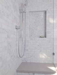 shower designs carrera white carrera marble bathing beauty modern bathroom sacramento kerrie l kelly Contemporary Bathrooms, Modern Bathroom, Master Bathroom, Master Shower, Contemporary Design, Shower Niche, Marble Bathrooms, Copper Bathroom, Shower Seat