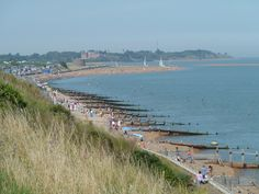 View from Cliff Road down to Felixstowe Ferry, Suffolk Suffolk Coast, Live In The Now, Beach Photos, Norfolk, Dolores Park, Castle, England, Explore, Cliff