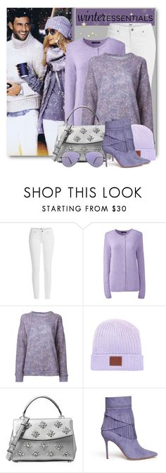 """Purple Winter Essentials"" by brendariley-1 ❤ liked on Polyvore featuring Paige Denim, Lands' End, The Elder Statesman, Michael Kors, Aperlaï, Ray-Ban and wintersweater"