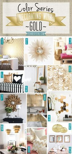 Color Series; Decorating with Gold. Gold home decor | A Shade Of Teal