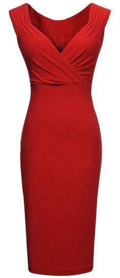 Red V-Neck Shealth Dress #LRD