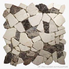 Mosaik Irregular Each Pcs Use Single Packing Plastic And Layer Cartoon Color : Mix Emperador - Biancone Size : 30.5 x 30.5 cm Qty : 11 Pcs / Sqm