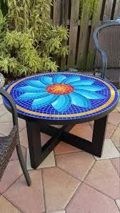 Handmade table, glass tile top, aluminum legs painted with powder coated high resistant paint, steel rimmed table top, indoor and outdoor - Salvabrani Mosaic Table by Zamaramosaic on Etsy Tile Art, Mosaic Art, Mosaic Glass, Mosaic Tiles, Stained Glass, Mosaic Birdbath, Diy Table Top, Patio Table, Outdoor Tables