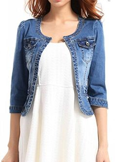 Fundu Women's Crew Neck Denim Blue Cute Three Quarter Sleeves Short Jacket -- Read more at the image link.