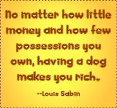 No matter how little money and how few possessions you own, ... #quote #dogs - shared via pinletmagic.com