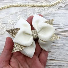 Ivory Gold Bow Hair Clip, Handmade Bow hair clip, Gift for Birthday Girl, Bright bow, Glitter Gold bow Product dimensions: Bow D: Length 8 cm in. White Hair Bows, Ribbon Hair Bows, Diy Hair Bows, Diy Bow, Bow Hair Clips, Barrette Clip, Ribbon Flower, Fabric Flowers, Burlap Hair Bows
