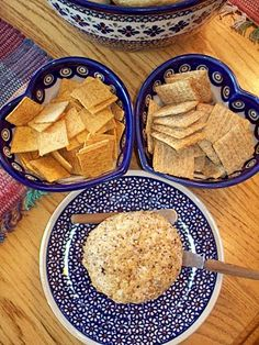 Cheese Ball and Crackers Using Polish Pottery. Have the heart bowls.