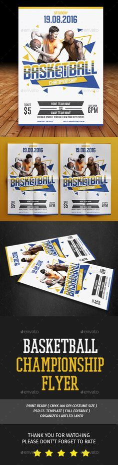 Basketball Flyer Hello Thank for Purchasing . Basketball Flyer. This PSD file set on 210 mm x 297 mm (A4)   bleed. 100 ready to print.You can easily change everything like color, image, text and elements PHOTO NOT INCLUDED Font used :Schluber Gobold Don