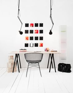 Home Office , Scandinavian Home Office Design : White Walls And Floor Scandinavian Home Office With Desk And Metal Chair And Swing Arm Lamps Home Office Inspiration, Workspace Inspiration, Decoration Inspiration, Interior Inspiration, Decor Ideas, Inspiration Wall, Creative Inspiration, Small Workspace, Office Workspace