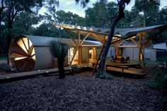 Drew House by Simon Laws...luxury campsite amongst mature Bloodwoods....