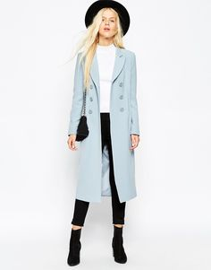 ASOS Coat In Tulip Fit With DB Detail