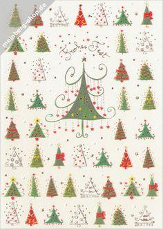"""Turnowsky Weihnachtskarte mit 46 geschmückten Weihnachtsbäumen und  goldener Schrift """"Frohes Fest""""."""