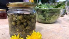 Hanne Frosta plukker knopper av løvetann for å bruke dem i matlagingen. Syltede løvetannknopper er veldig gode i salat. Pickles, Cucumber, Mason Jars, Cooking Recipes, Mat, Garden, Pictures, Garten, Chef Recipes