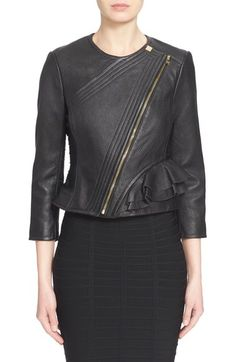 Herve Leger 'Mila' Ruffle Detail Lambskin Leather Jacket available at #Nordstrom