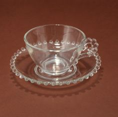 Candlewick Imperial Glass Cup Saucer Set Vintage by charmings