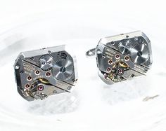 OMEGA Steampunk Cufflinks - Made with Genuine Omega watch movements. Available at TimeInFantasy. $199.00
