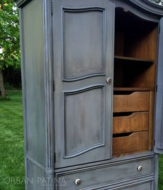 Urban Patina: Authentically Crafted Home + Gift: Painted Armoire: Furniture Makeover Diy Furniture Building, Cheap Patio Furniture, Diy Furniture Projects, Furniture Upholstery, Unique Furniture, Nursery Furniture, Painting Furniture, Classic Furniture, Kitchen Furniture