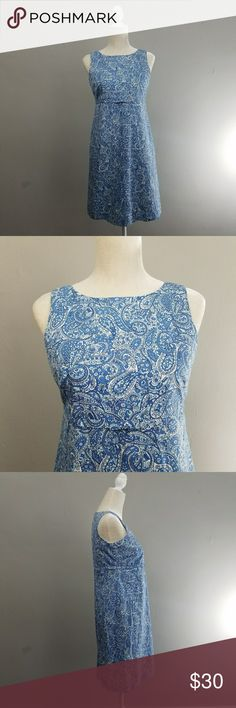 Talbots | Blue paisley dress with bow Classic cut dress from talbots. Blue paisley print sleeveless dress with small bow detail. Like new condition. Talbots Dresses Midi