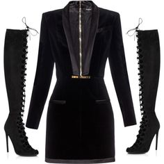 Loving this Velvet, silk, blazer style dress with knee high lace boots by style-by-grizelda on Polyvore featuring polyvore, fashion, style, Balmain and Giambattista Valli