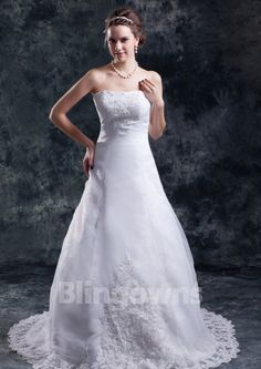 Sweep Appliques Lace Up Tulle Strapless White A-line Sleeveless Wedding Dresses
