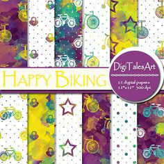 """Happy Biking DIgital Paper Pack by DigiTalesArt. Colorful watercolor digital paper pack """"Happy Biking"""" in yellow, purple, green, blue and white. Perfect for scrapbooking, making cards, invitations, collages, crafts, web graphics, and so much more."""