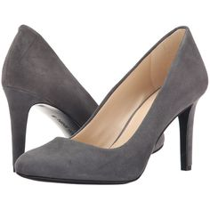 Nine West Handjive High Heels, Gray ($63) ❤ liked on Polyvore featuring shoes, pumps, grey, high heel shoes, grey pumps, grey high heel pumps, slip on pumps and round cap
