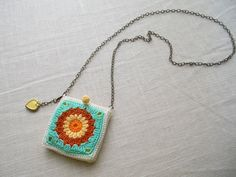 Crocheted Granny Square Pocket Necklace Bohemian by CamilleMarie