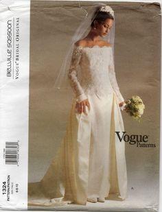 GORGEOUS Vogue Pattern 1324 Wedding Evening Dress Bellville Sassoon Sz 6-8-10   Also has an evening gown w/straight skirt.