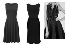 Little black dress for Soft Classic Kibbe body type. Flowing lines and slightly flared skirt.