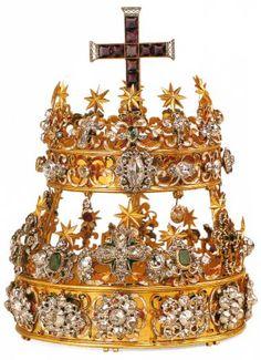 tiara a due ordini - 1620-1720 - oro, argento, diamanti, smeraldi, rubini, zaffiri, ametiste, quarzo e smalto