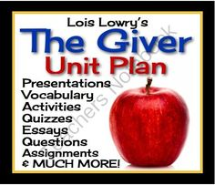 GIVER: Unit Plan - Assignments, Presentations, Quizzes, Vocabulary & Activities  from Presto Plans on TeachersNotebook.com (340 pages)  - Enter the world of Sameness!  This unit plan has everything you will need to teach Lois Lowry's award-winning novel The Giver. With over 340 pages/slides of eye-catching powerpoints, printable assignments, questions, vocabulary, and interactive class acti