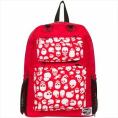 TINSLEY RED BACKPACK WITH SKULLS RED AND RED POCKETS BY ATTACHAPACK